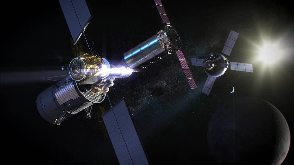 Représentation d'artiste de la station Gateway et du vaisseau Orion en approche.