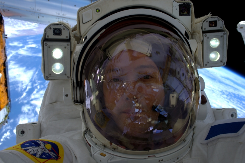 Portrait de Thomas Pesquet lors de l'EVA du 13/01/2017