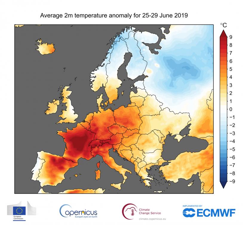 Les anomalies de température observées du 25 au 29 juin 2019