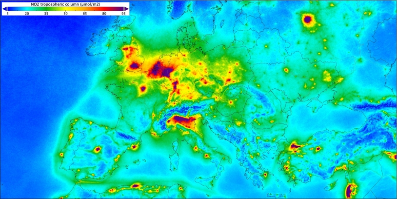 Dioxyde d'azote sur l'Europe observé par Sentinel 5P en mai 2019.