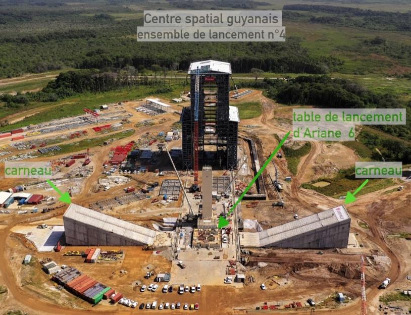 Les carneaux de l'aire de lancement d'Ariane 6