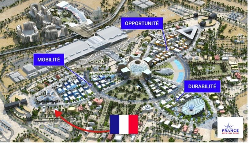 Localisation du Pavillon France à l'Exposition universelle de Dubaï