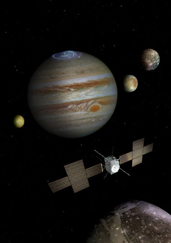 Sonde JUICE devant Jupiter