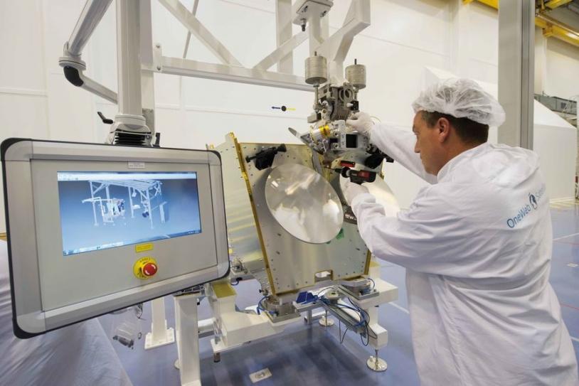 Définition de la chaîne d'assemblage des satellites OneWeb à Toulouse.