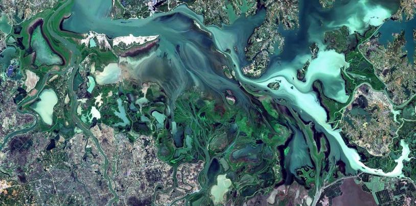 Lac Poyang (Chine) par un satellite Sentinel-2