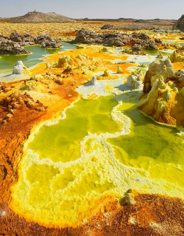 Une mare chaude, hyper-acide et hyper-salée de Dallol (Ethiopie)