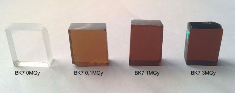 Obscurcissement d'échantillons de verre face à des radiations ionisantes