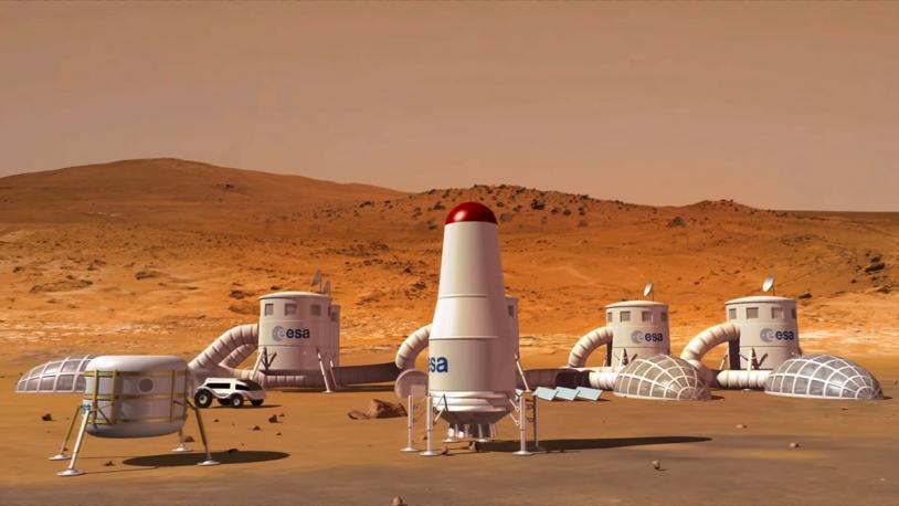 Représentation d'artiste d'une base martienne.