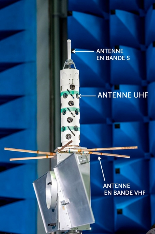 Les 3 antennes des satellites Kinéis